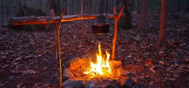 Primitive outdoor fire for cooking